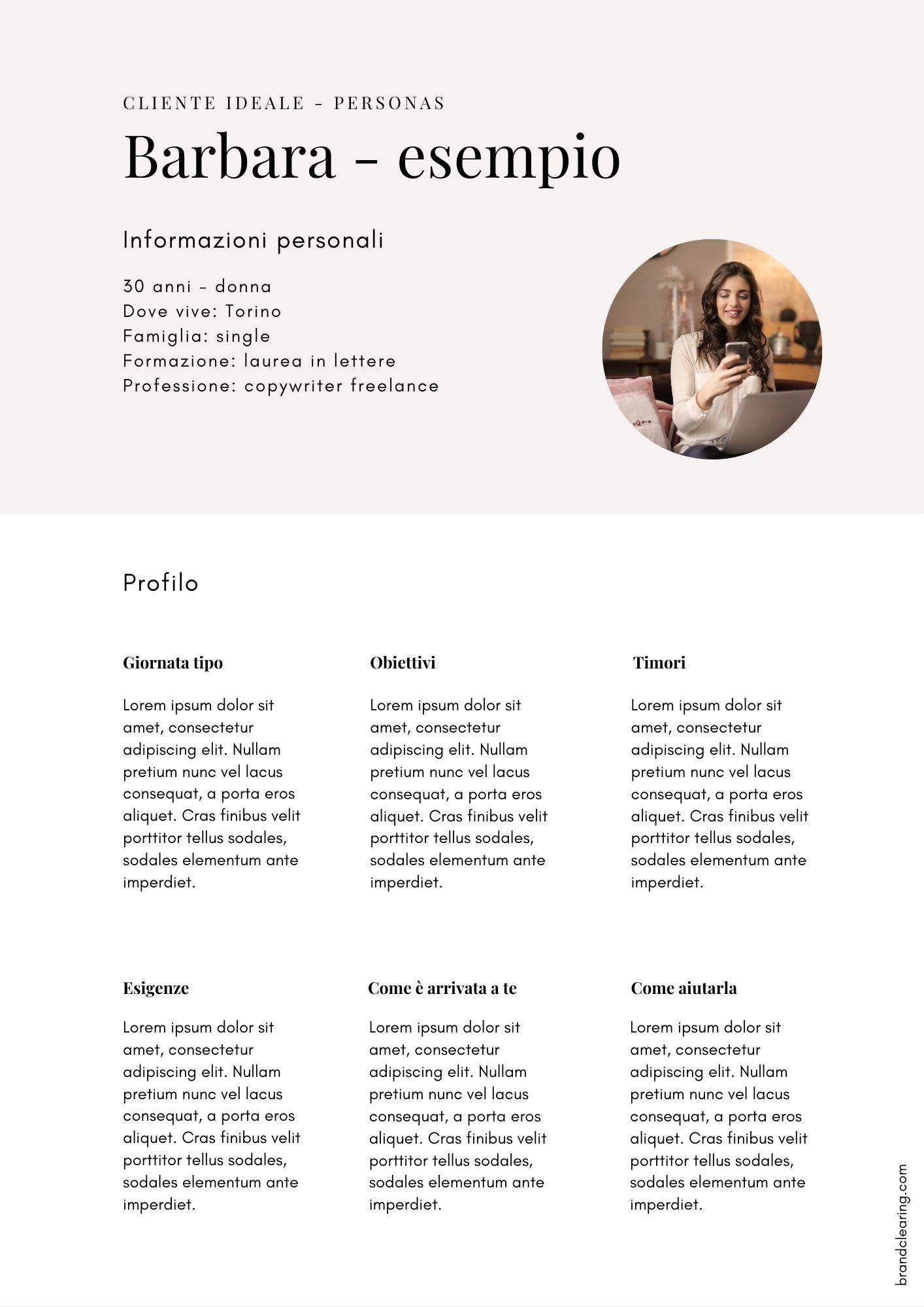 Carta d'identità del cliente